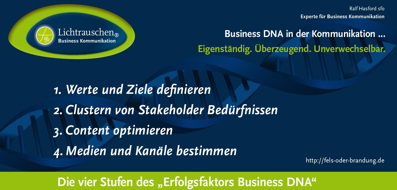 Business DNA in der Kommunikation … Eigenständig. Überzeugend. Unverwechselbar.