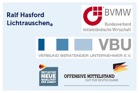 Ralf Hasford Lichtrauschen ist Mitglied im BVMW, Partner im VBU und Mitarbeit in der Offensive Mittelstand.