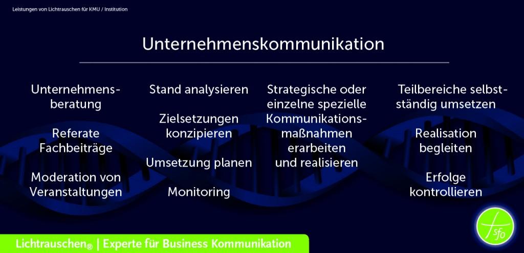 Leistungen Unternehmenskommunikations mit dem Erfolgsfaktor Business DNA